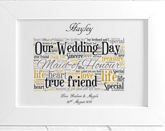 Personalised Maid of Honour Wedding Thank You Framed Word Art