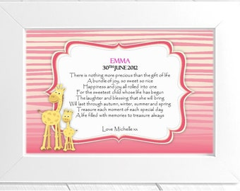 Personalised Newborn Baby Framed Poem