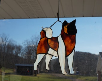 Stained Glass Akita Dog