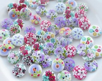 """50 Wooden buttons fantasy """"Mixed Spring"""" 15mm"""