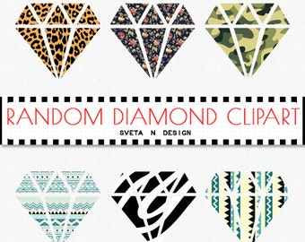 Patterned DIAMOND Clipart 6 psc PNG - Instant Download {galaxy clipart, clip art, digital diamond, diamond clipart}