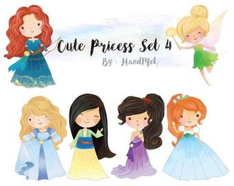 Cute princess clipart set 4 : Instant Download PNG file - 300 dpi
