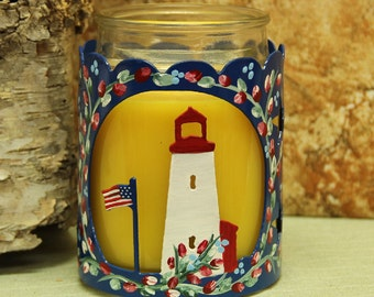 Lighthouse Candle Holder for Yankee Candles and like brands. Creating a warm and cozy glow.