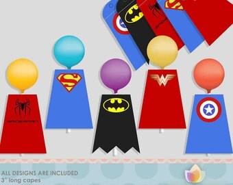 Super Hero Cake Pop Capes Tags, Super hero lollipop capes