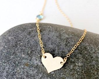 personalized heart choker 14k gold filled heart jewelry monogram initial necklace swarovski birthstone necklace monogram jewelry aquamarine