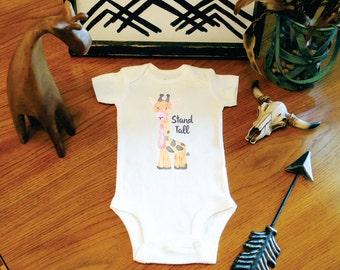 Stand Tall Little One, Giraffe Baby, Giraffe Bodysuit, Little Giraffe, Baby Shower Gift, New Mom Gift, New Baby Gift, Funny Baby, Cute Baby