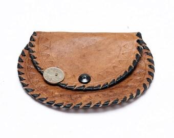 Vintage Leather Woman Money Purse, Small Retro Brown Change Purse, Vintage Leather Portfolio, Folding Billfold, Small wallet