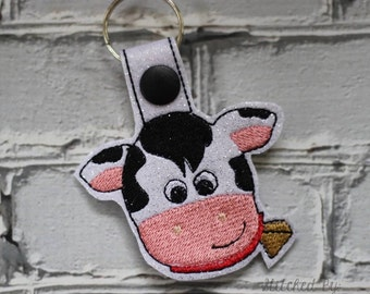 Cow - Snap/Rivet Key Fob - DIGITAL Embroidery Design