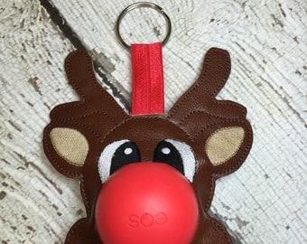 ITH Reindeer Sphere/Egg Lip Balm Holder - Lip Gloss - Christmas - Stocking Stuffer -  5 x 7 ONLY Design - DIGITAL Embroidery Design