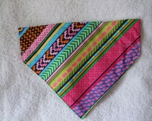 Pink and Blue Aztec / Tribal Design Slide on Bandana/ Neckerchief