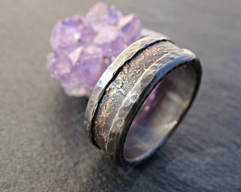 unique wedding band, industrial ring for men medieval wedding ring, cool mens ring bronze silver, mens wedding band, promise ring for men