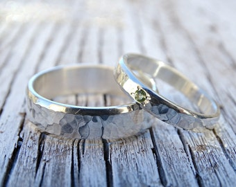 silver wedding band set, rustic silver ring set gemstone, matching promise rings his and hers, rustic wedding rings, hammered wedding rings