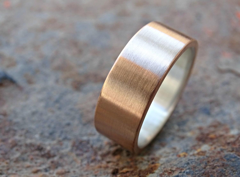 bronze wedding ring mens ring bronze silver mens wedding