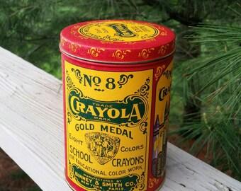 Crayola Crayon No. 8 Metal Tin 1982