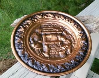 Coppercraft Guild Plate Wishing Well Scene Wall Art