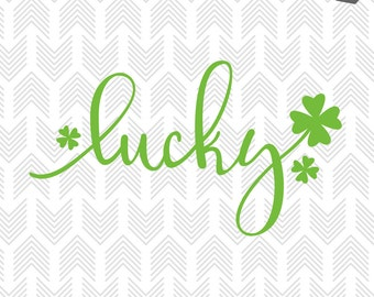 St Patricks Day SVG File - Lucky SVG - Four leaf clover SVG files for Silhouette, Cricut - Vinyl htv Clip art - Commercial use