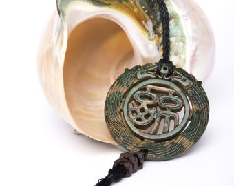 Green Jade Amulet Necklace~Jade Tassel Necklace