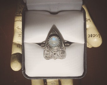 Rainbow Moonstone Mini Planchette Ring