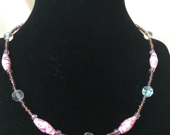 Pink and Purple Iridescent Necklace