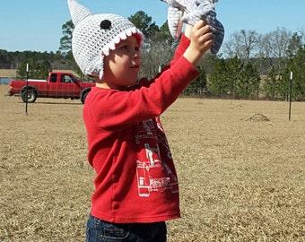 Homemade Custom Crochet Shark Hats