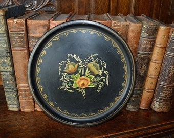 Antique Small Floral Tole Tray Black Metal Round