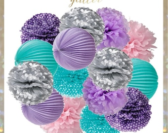 Aqua, Purple, Silver, Pink, Turquoise and Lilac Mermaid tail Pom Poms and Lanterns Set