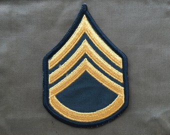Vintage US Army Staff Sergeant Patch Shoulder Sleeve Insignia Olive Drab
