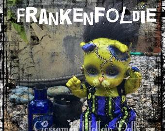 Frankenfoldie-OOAK Scottish Fold Frankenstein Monster Goth Creepy Horror Punk Kitty Cat Halloween