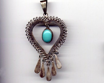 Vintage Sterling Silver 925 Signed Taxco with Eagle Mark Heart Pendant with Dangling Turquoise Stone