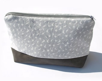 Cosmetic bag, Zipper pouch, fawn, gray, with pattern