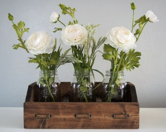 Rustic Mason Jar Box, Desk Organizer