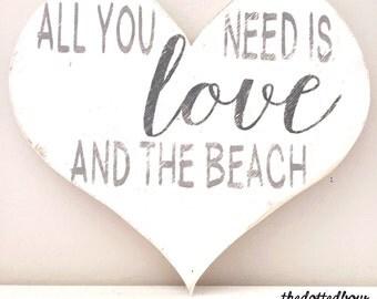 Love and the Beach wood heart