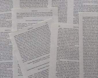 Assorted Dracula Book Pages - 10 pages for art and craft projects - Bram Stoker - Cards - Bunting - Confetti