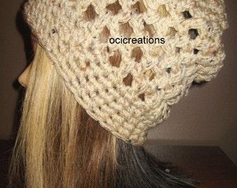 Tan Slouchy Hat, Tan Slouch Hat, mesh hat, womens hat, crochet hat, tweed, slouch hat, slouchy hat, adult hat, adult crochet hat, gift,