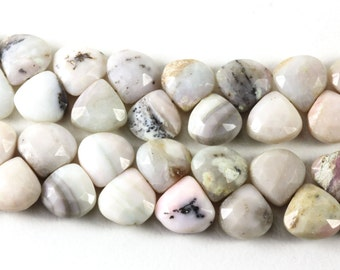 Peruvian Opals, Heart Brioletts, Faceted Beads, Pink, Cream & Grey Peruvian Opal Ombre Shaded, 10.5mm to 11.3 x 11mm KJ