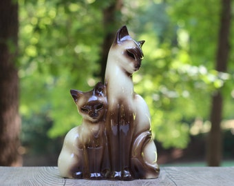 Mid-Century Kron Siamese Cat and Kitten TV Lamp  / Siamese Cat and Kitten Lamp / Texans Incorporated Kron Lamp