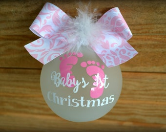 Baby's 1st Christmas Ornament- Personalized Glass Ornament