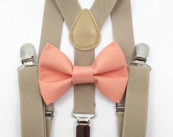 FREE DOMESTIC SHIPPING! Tan Suspenders + coral bow tie kids children toddler boy boys wedding pictures birthday formal wedding ring bearer