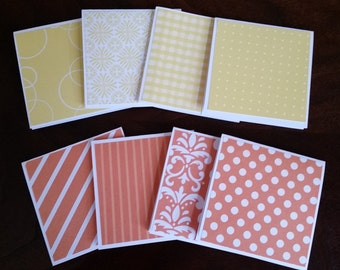 """Mini Note Cards; 3"""" x 3"""" Cards; Stationery Set; Gift Enclosures; Shades of Orange and Yellow"""