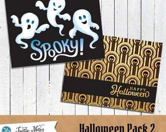 2 Printable Halloween Note Cards