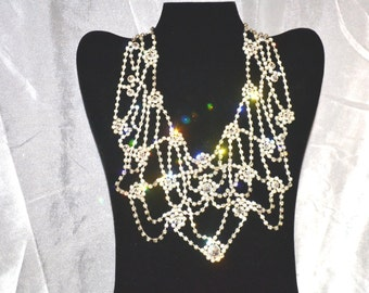 Vintage Clear Rhinestone Haute Couture Necklace