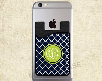 Monogram Cell Phone Card Caddy, Personalized Wallet Card Holder, Monogram ID Credit Card Holder, Monogram Gift, Personalized Gift