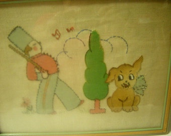 embroidery frame-little boy room-wall decor-boy and his dog-handmade-