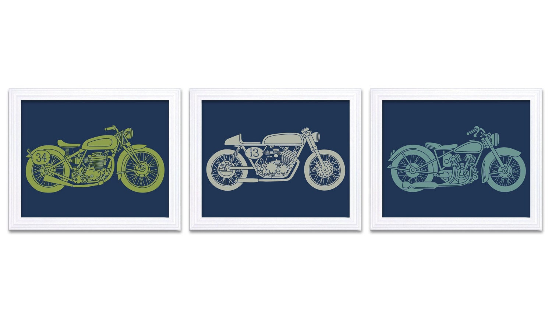 Navy Blue Motorcycle Nursery Art Nursery Prints Transportation Set of 3 Prints Teal Blue Lime Green