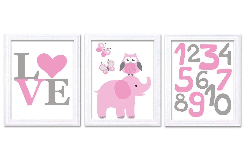 Pink Gray Grey Elephant Nursery Art LOVE Set of 3 Prints Owl Butterflies Numbers 123 Child Art Kids