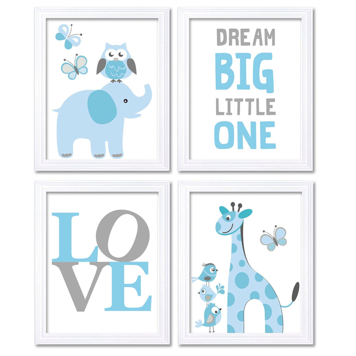 Baby Blue Grey Elephant Giraffe Owl Nursery Art Dream Big Little One LOVE Set of 4 Prints Child Kids