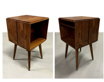 Retrofitted Two Sided Wine Box Nightstand or end table
