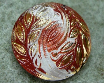 Czech Glass Button 23mm - hand painted - burgundy, pink, white, gold (B23258)