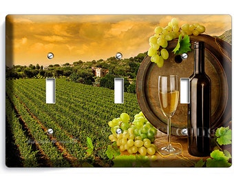 Tuscan vineyard rustic wine barrel bottle white grapes triple light switch wall plate plate cover dining room house kitchen home art decor