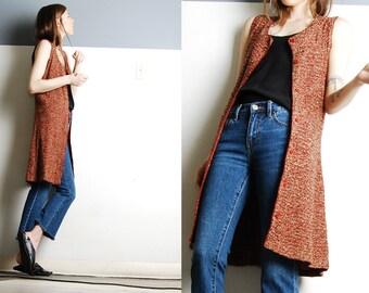 Vintage 70s Spacedye Knit Hippie Long Vest